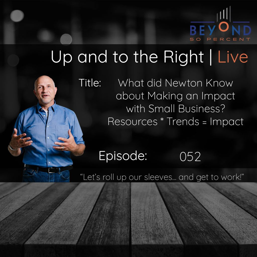 making an impact as a small business cover art for up and to the right episode 050