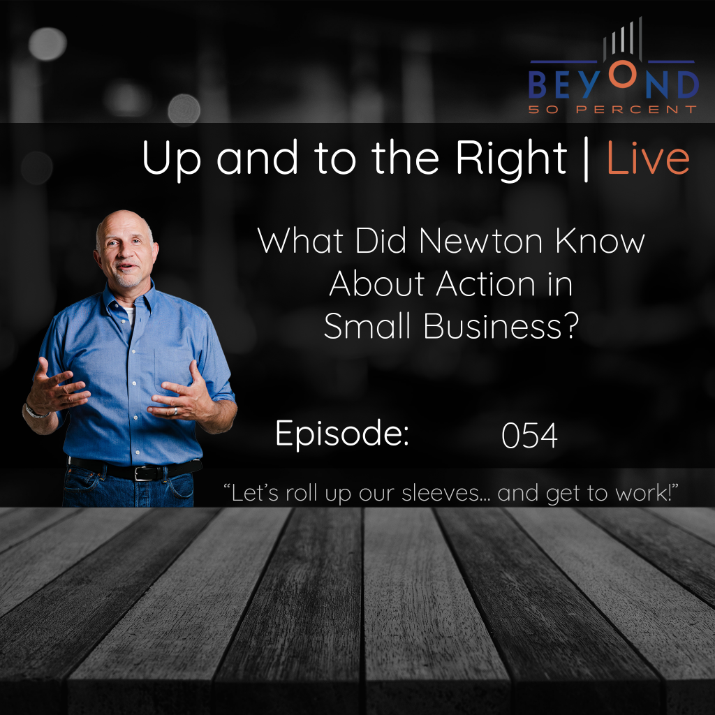 """Cover art for episode 053 of the Up and to the Right Podcast """"What did Newton Know about Action in Small Business 