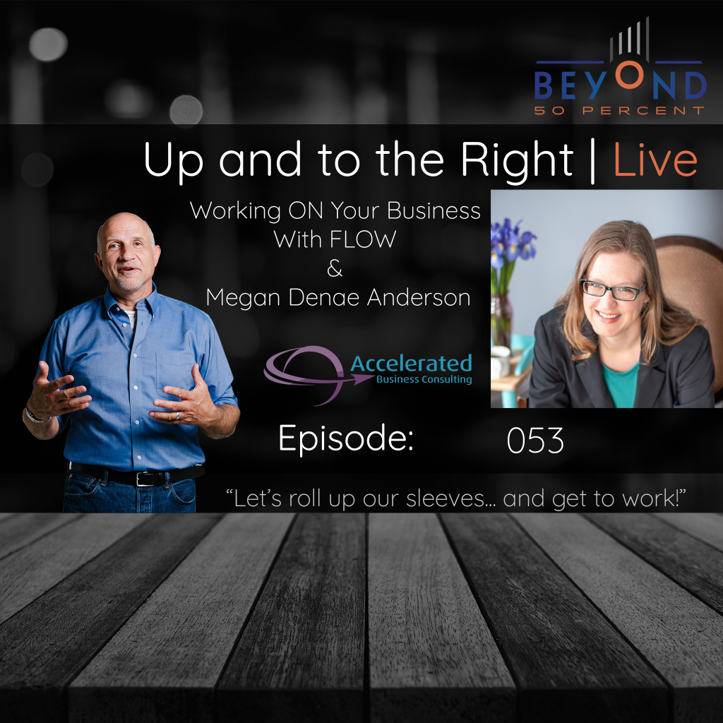 "Cover art for episode 053 of the Up and to the Right Podcast ""Working ON Your Business With FLOW and Megan Denae Anderson 